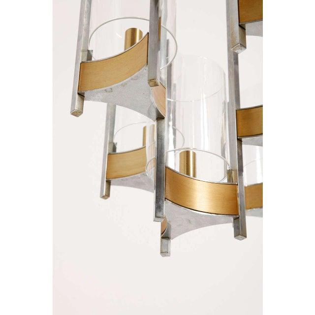 Brass Sciolari Brass Glass Sculptural Chandelier,1970s For Sale - Image 7 of 11