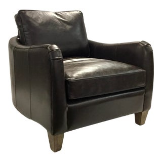 Harbor House Modern Chocolate Brown Leather Donovan Club Chair For Sale