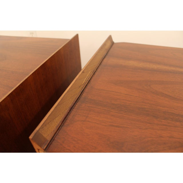 Lane Mid-Century Danish Modern Walnut Nighstands- A Pair - Image 8 of 11