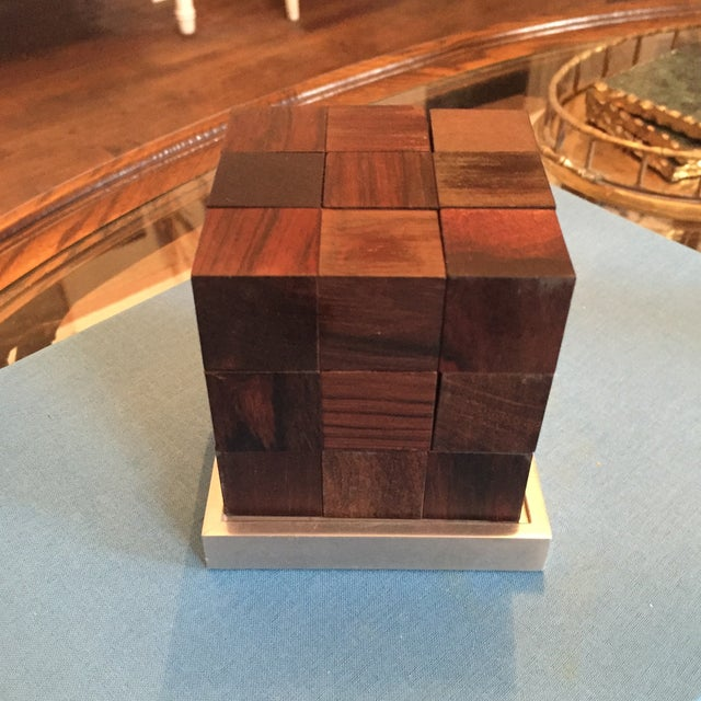 Mid Century Modern Danish Rosewood Teak Parker Brothers Cube Puzzle Game - Image 7 of 11
