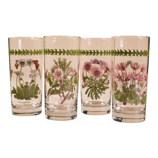 1970s Portmeirion Highball Barware Floral Genus- 4 Piece Set - Set of 4 For Sale