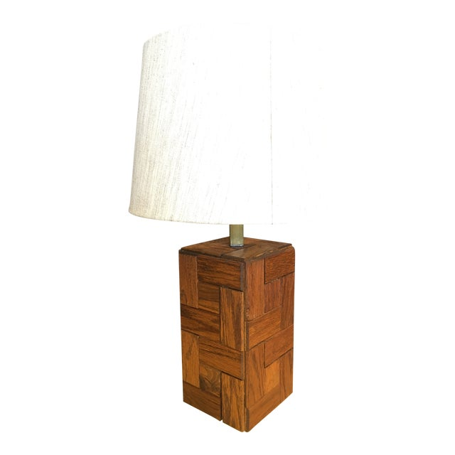 Mid-Century Hand Crafted Wood Table Lamp For Sale