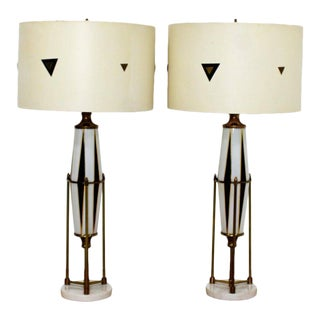 Mid-Century Modern Pair of Hollywood Regency Harlequin Brass Glass Marble Lamps For Sale