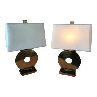 Robert Abbey Brass & Marble Table Lamps - a Pair