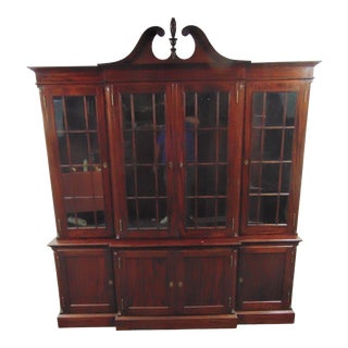 Feldenkreis Solid Mahogany Chippendale Bookcase Breakfront For Sale