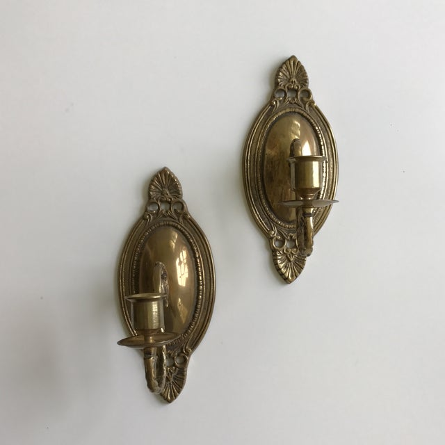 Vintage Brass Wall Sconces - A Pair - Image 2 of 7