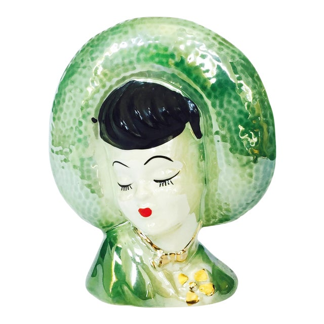 Vintage Green Lady Head Vase - Image 1 of 6