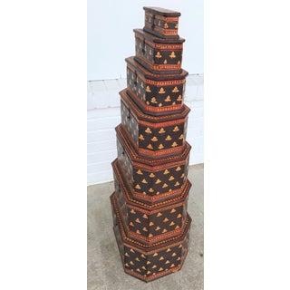 19th Century Folk Art Handmade Octagonal Nesting Boxes - Set of 7 Preview