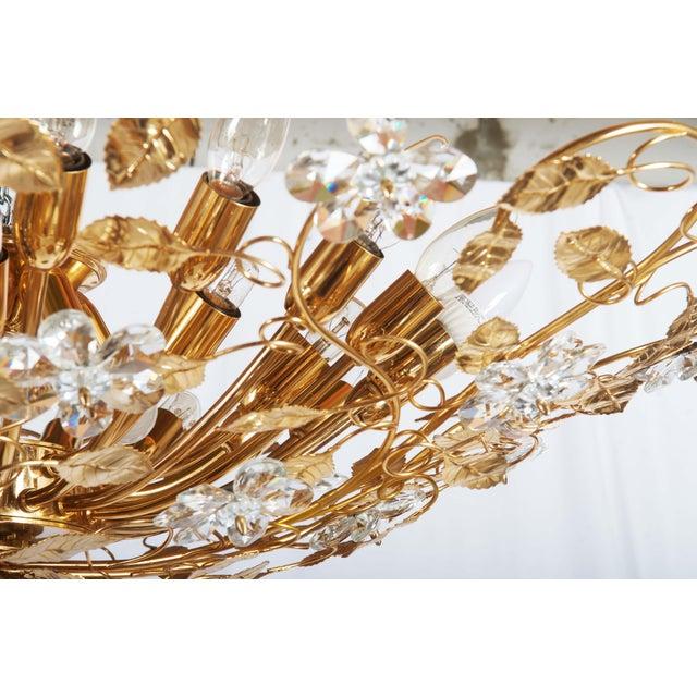 Huge Bras and Crystal Flush Mount Chandelier For Sale - Image 12 of 13