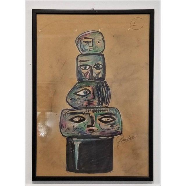Brown 1960s Vintage Ermanno Nason Original Sculpture of a Totem Preparatory Drawing For Sale - Image 8 of 8