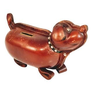 Vintage Dog Bank Kounoike Leather Weiner Pup Coin Catcher For Sale