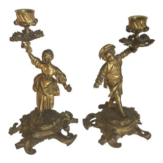 Gilt Bronze Rococo Candle Sticks - A Pair For Sale