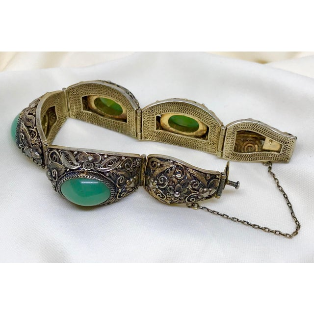1940s Mid-Century Chinese Gilt Sterling and Jade Bracelet For Sale - Image 5 of 8