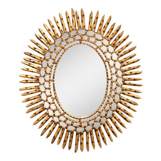 Early 20th Century French Giltwood Sunbust Mirror With Overlay Recessed Glass For Sale