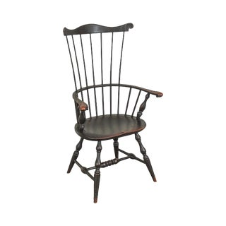 18th Century Style Black Crackle Painted Custom Windsor Arm Chair For Sale