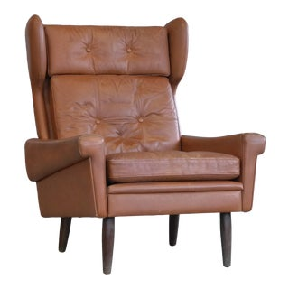 Sven Skipper High Back Winged Arm or Lounge Chair in Cognac Brown Leather For Sale