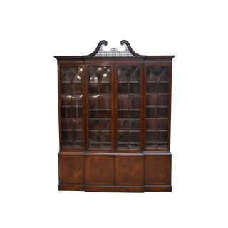 Baker Chippendale Mahogany 2 Pc Breakfront China Cabinet For Sale
