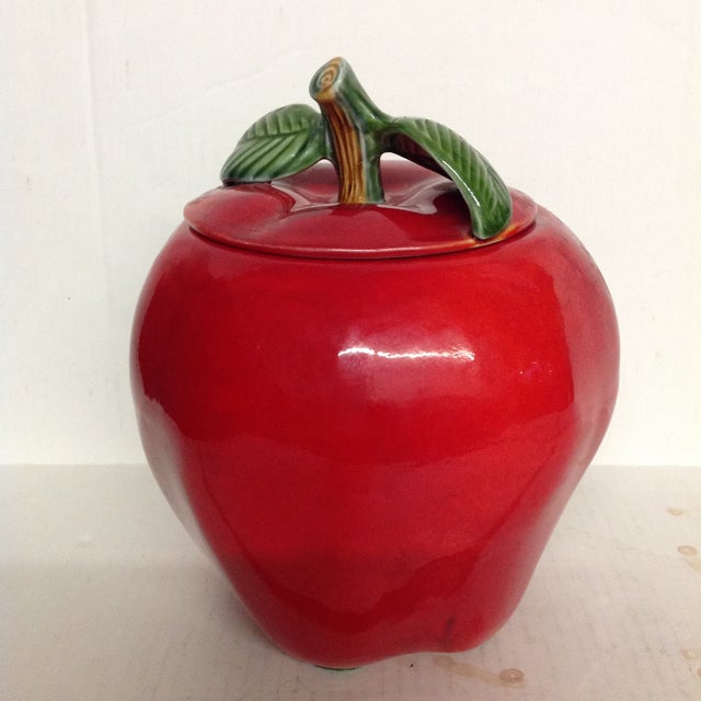 """Very cool cookie jar in the shape of an apple made by CCC USA pottery. Although the logo suggests this to be the """"Canadian..."""