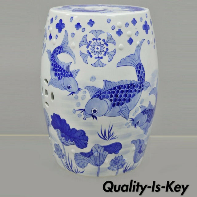 Blue & White Koi Fish Porcelain Chinese Garden Stool For Sale - Image 12 of 12