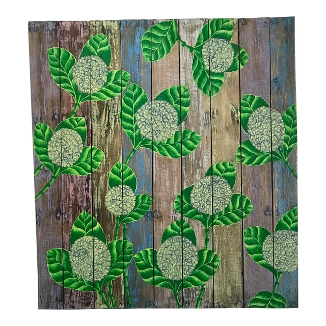 Hand Painted Balinese Rustic Wood Wall Panel Decor For Sale