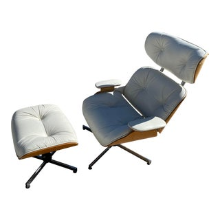 Plycraft Charles Eames Style Lounge Chair and Ottoman For Sale