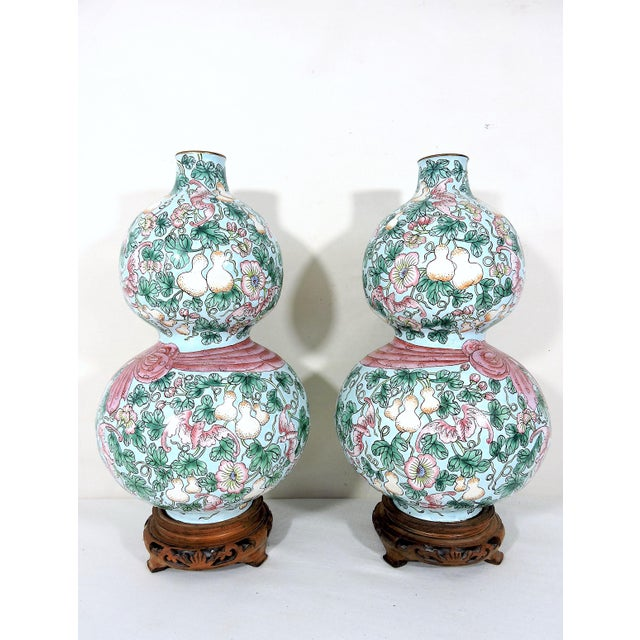 Rare Enamelled 'Huluping' Chinese Double Gourd Pink and Blue Vases With Wood Stands - a Pair For Sale - Image 4 of 10