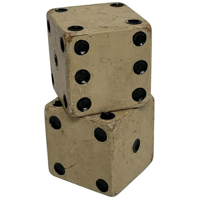 Wood Scale Vintage Wooden Casino Dice - a Pair For Sale - Image 7 of 7