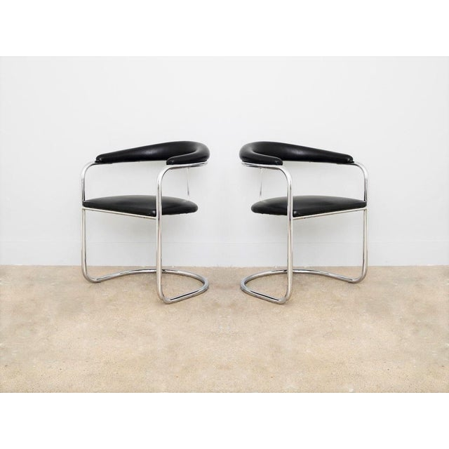 Anton Lorenz Set of Four Black Anton Lorenz for Thonet Chrome Chairs For Sale - Image 4 of 6