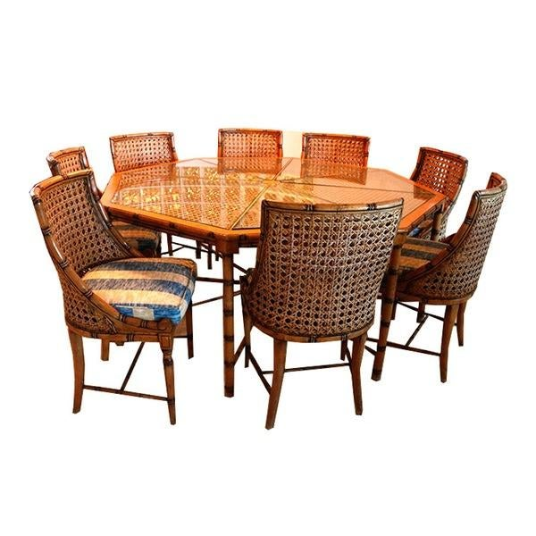 McGuire Style Octagonal Rattan Dining Set - Image 1 of 10