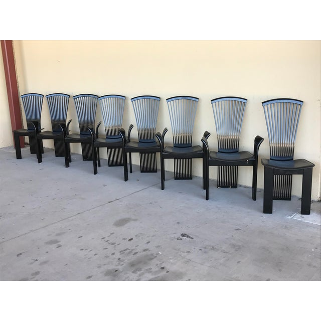 1970s Vintage Pietro Costantini Tall Fan Back Black Lacquered Dining Chairs - Set of 8 For Sale In Dallas - Image 6 of 12
