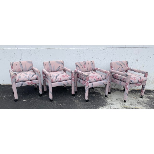 Textile 1980s Vintage Thayer Coggin Parsons Chairs- Set of 4 For Sale - Image 7 of 7