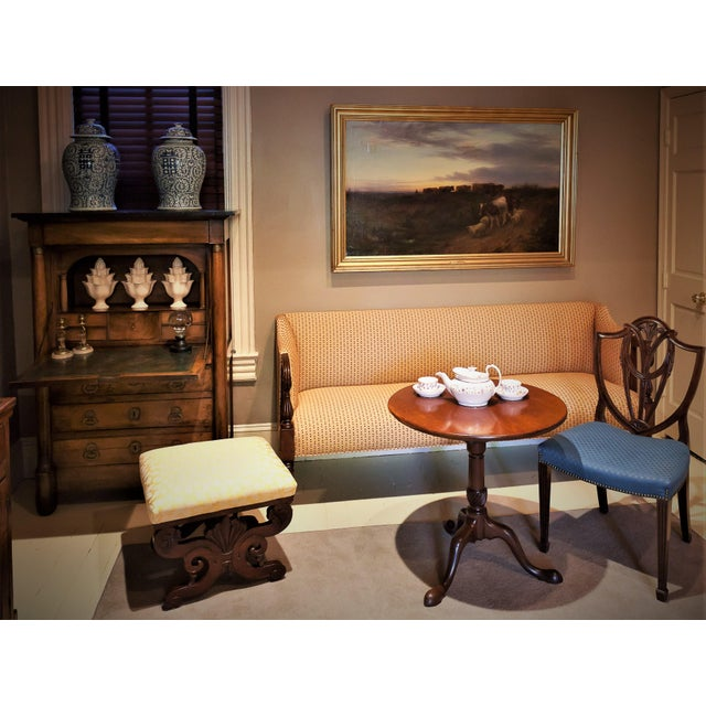 #9711FN. This beautiful Federal sofa has a modern look in contemporary upholstery. North Shore Massachusetts, circa 1815....