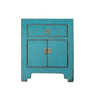Chinese Distressed Turquoise Blue Foyer Console Table Cabinet For Sale