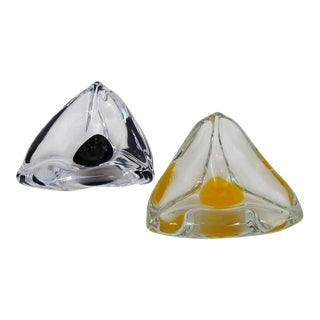 Vintage Swedish Glass Ashtrays - A Pair