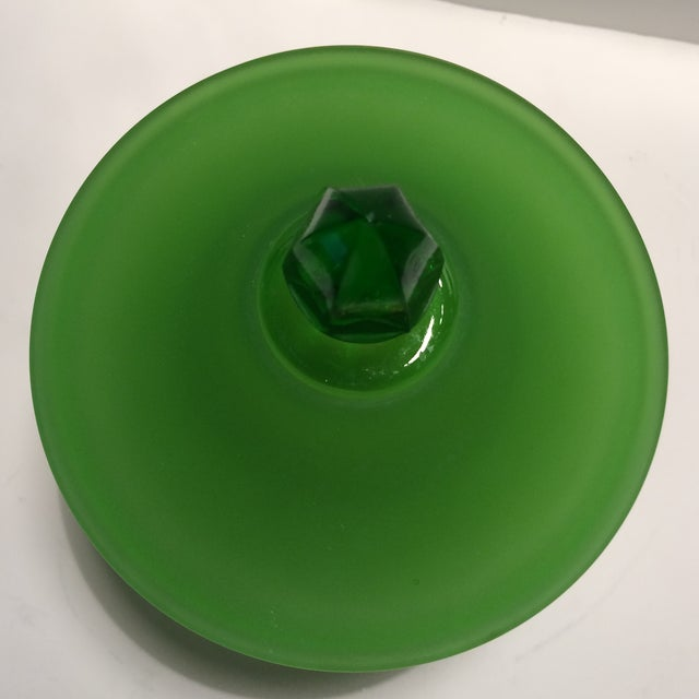 Green 1940's Vintage Green Westmorland Green Glass Candy Dish For Sale - Image 8 of 11