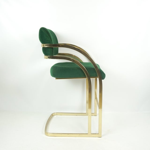 Comtemporary Shell Brass Cantilever Bar Stools - a Pair For Sale - Image 5 of 11