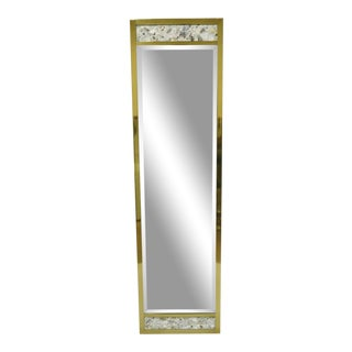 Vintage Jl Metz, Tomlinson Brass Frame Marble Inlaid Narrow Mirror For Sale