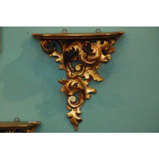 French 20th Century French Carved Gilded Wall Shelves - a Pair For Sale - Image 3 of 6