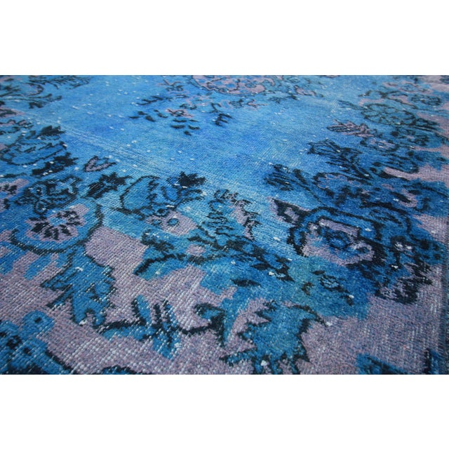 Vintage Distressed Turkish Royal Blue Overdyed Rug - 4′1″ × 9′4″ - Image 3 of 4