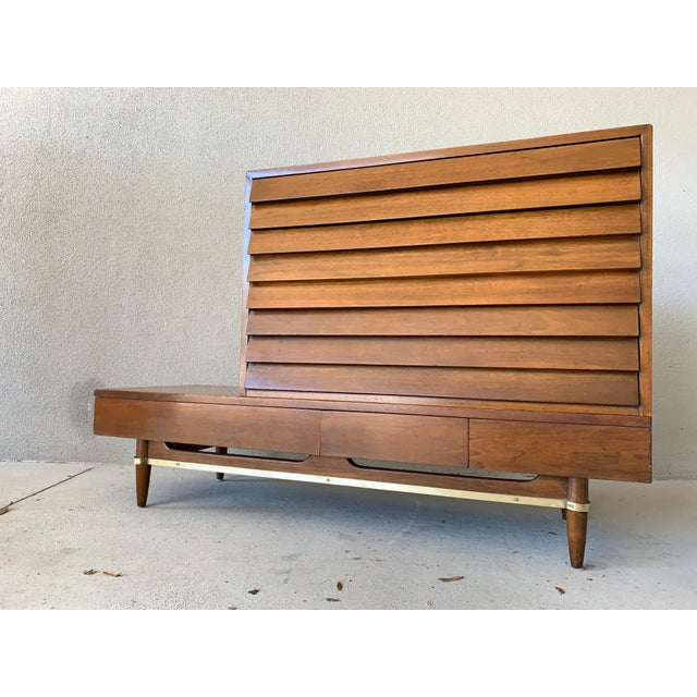 Mid Century American of Martinsville modular bench with removable louvered drawer top. This piece was designed for...