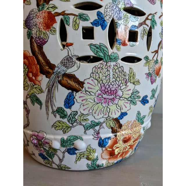 Asian 1980s Chinese Bird and Floral Detailed Enameled Porcelain Garden Stool For Sale - Image 3 of 12