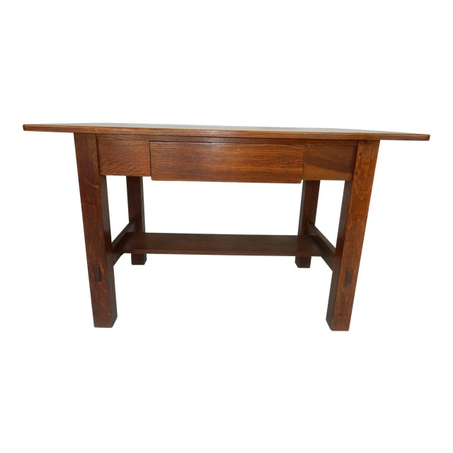 Antique Signed Charles Limbert Mission Oak Library Table/ Desk For Sale