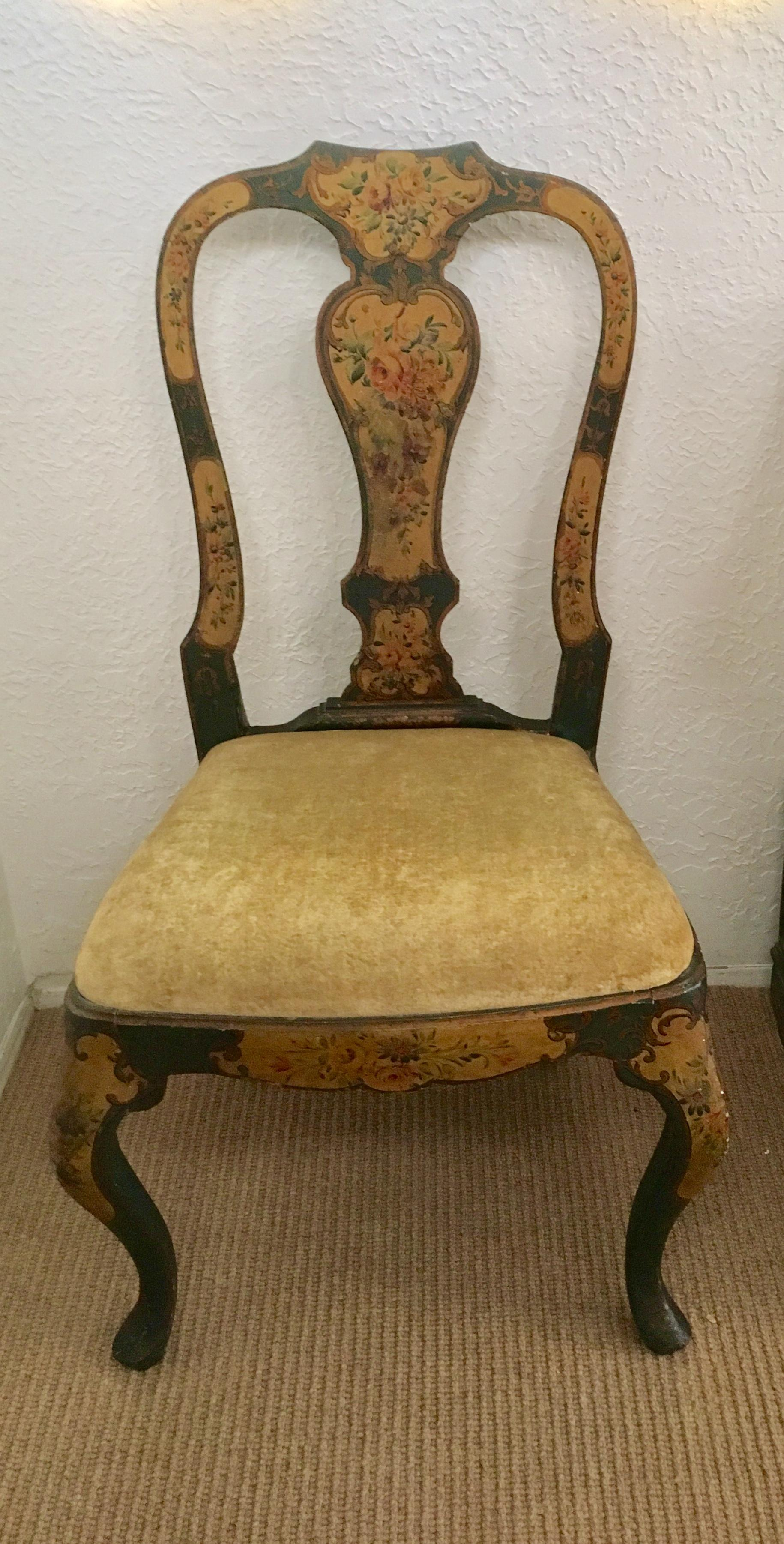 18th Century Vintage Venetian Hand Painted Chairs   A Pair