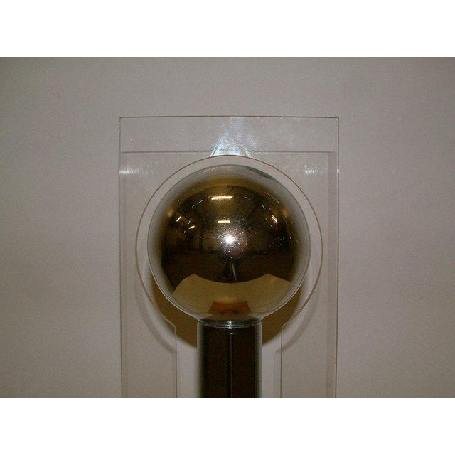 Metal Modern Lucite, Chrome & Wood Lamp For Sale - Image 7 of 8