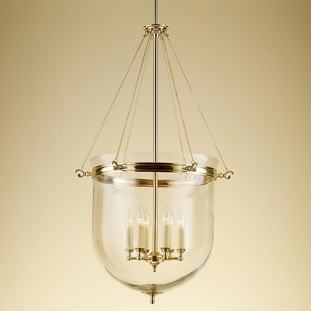 "Brass lantern with glass and 6 candle lights. Width: 56cm / 22"" Depth: 56cm / 22"" Height: 143cm / 56.3"" Weight: 9.5kg UL..."