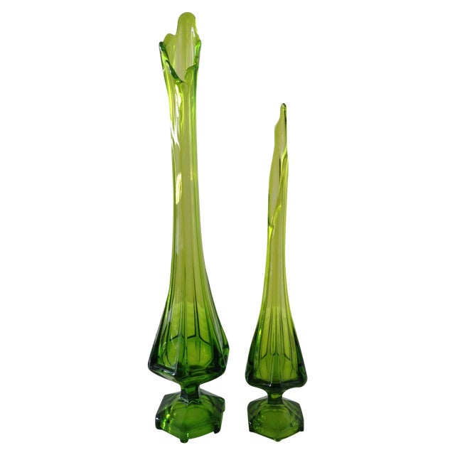 Vintage Stretched Green Vases - Pair - Image 1 of 4