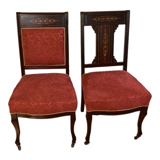 1910s English Edwardian Mahogany Inlaid Mother of Pearl Side Chairs - Set of 2 For Sale