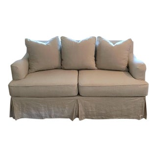 Transitional Linen Slipcovered Loveseat For Sale