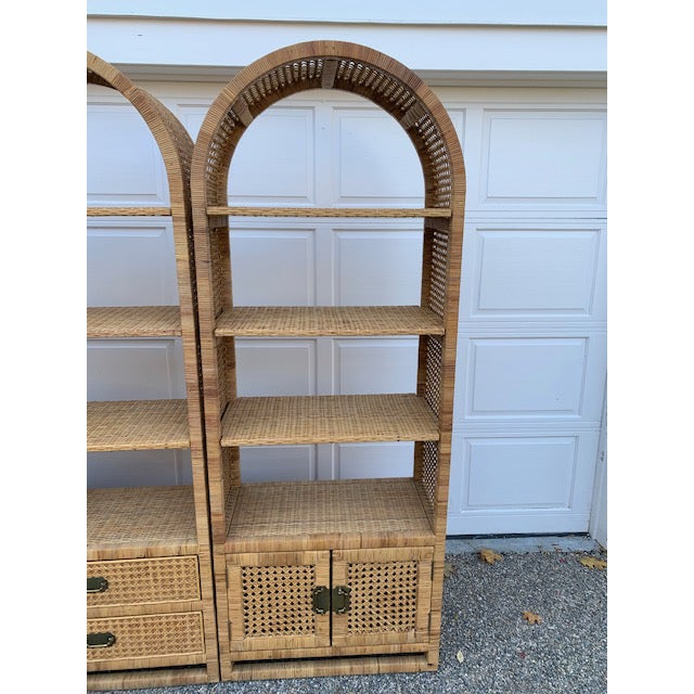 Boho Chic 1970's Bielecky Style Rattan and Brass Bookshelves-Set of 3 For Sale - Image 3 of 13