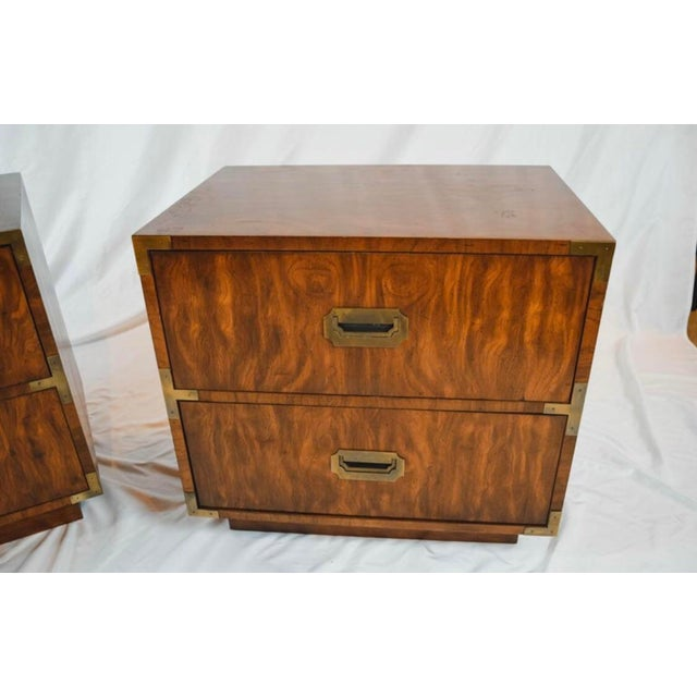 Mid-Century Modern 1960s Campaign Storage End Tables - a Pair For Sale - Image 3 of 4